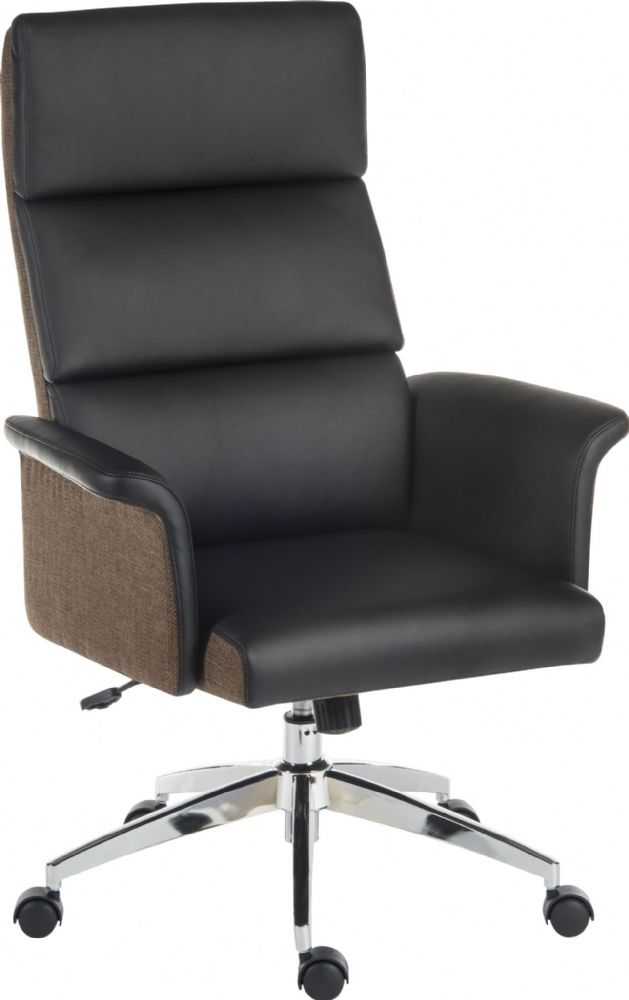 TEKNIK ELEGANCE High Backed Executive Chair, Black or Cream. Chrome Base. Gull Wing Arms & Recline